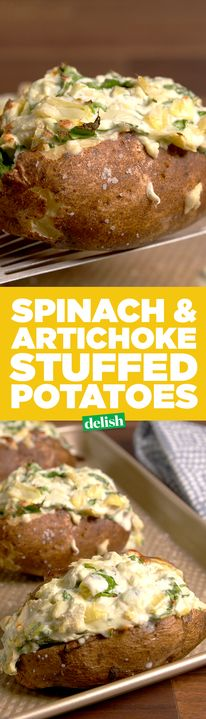 Spinach and Artichoke Stuffed Potatoes Is The Comfort Food Recipe Of The Year. Get The Recipe From Potato Dishes, Food Dishes, Side Dishes, Potato Bar, Vegetarian Recipes, Cooking Recipes, Healthy Recipes, Spinach Recipes, Yummy Recipes
