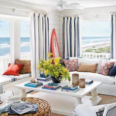 Coastal Living Magazine interiors   Hang Curtains High - 40 Beautiful Beachy Living Rooms - Coastal Living