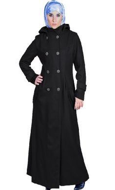 Michigan Wool Coat Long Islamic Clothing. Stay extra warm in this double breasted Jacket/ Abaya. Butterfly collar with attached Hoodie. Double buttoned. Side pockets. Buckle on cuff. Fabric: 70% Wool 30% Man Made materials. Dry Clean only  at http://suliaszone.com/michigan-wool-coat-long-islamic-clothing/