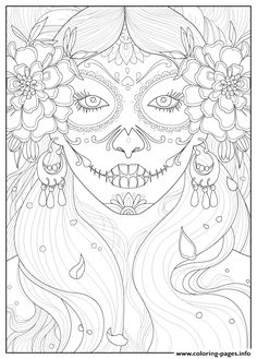 Print Adult Days Of The Dead By Juline Coloring Pages Skull Animal
