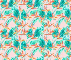 Birds of Paradise Blush fabric by mjmstudio on Spoonflower - custom fabric