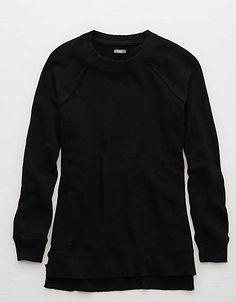 Aerie Raglan Tunic Sweatshirt , True Black | Aerie for American Eagle