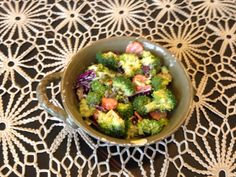 Broccoli salad!  Broccoli assortment of veggies with veganaise!  (My favorite combo...broccoli red onions, almonds or pecans...add some real maple syrup and salt!  Delish!