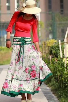 love the hat and skirt.  I think I'd put it with a green shirt.