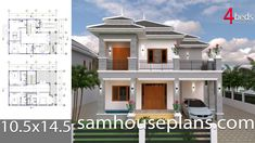 House Plans with 3 Bedrooms. The House has: Car Parking small garden -Living room, -Dining room, -Kitchen, Bedrooms with 2 bathrooms Two Bedroom House Design, 2 Bedroom House Plans, Shop House Plans, New House Plans, Dream House Plans, Simple House Plans, Simple House Design, Modern Floor Plans, Modern House Plans