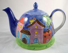 Herman Dodge & Son CA Hand Painted Ceramic Tea Pot By Marianne Vinch | eBay