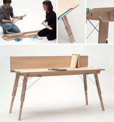 Modular Wood Furniture: Craft Your Own Custom Designs - The system is entirely tension-based – wooden parts are pulled together to make a stable whole.