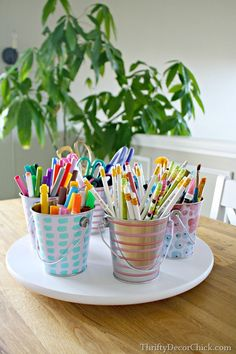 Easy DIY craft caddy with dollar store pails