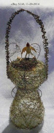 Bird nest basket with birds, wire-wrapped glass Christmas ornament