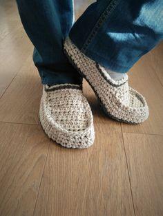 Crochet slipper boots/men slippers/men slipper by ChunkyKnitworks