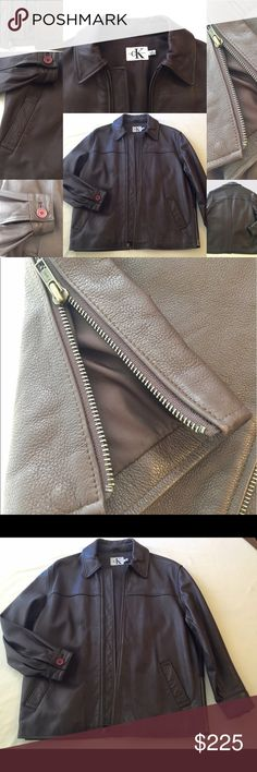 Calvin Klein Leather Jacket Calvin Klein chocolate brown soft thick buttery leather jacket with zipper, collar, front pockets and short side zips.  Good for a man or woman.  Men's size S.  Women's S/M.  In excellent condition. Calvin Klein Jackets & Coats