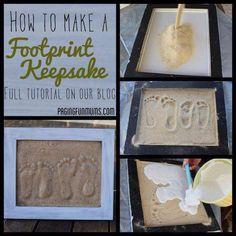 Footprints in the sand... Doing this with my girls this summer! LOVE this
