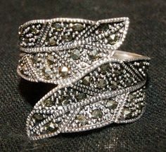 VINTAGE TOCARA MARCASITE Ring Sterling Size 10 by AuctionHunter, $25.00