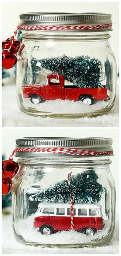 How To Make A Vintage Truck in Mason Jar Snow Globe