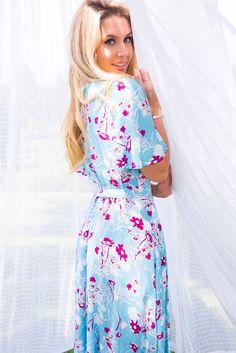 5033f8f5f9f8 Petal Autumn Sky Maxi Wrap Dress