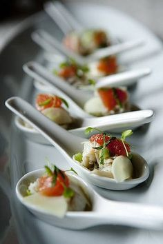 Elegant canapes. I'd love to make a little treat/desert/slice of a meal in a small spoon serving like this