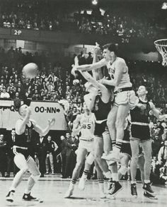 Oregon basketball player Bill Jennings passes the ball vs. OSU at Mac Court 1965. From the 1965 Oregana (University of Oregon yearbook). www.CampusAttic.com