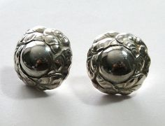 Georg Jensen Sterling Silver Earrings with Silver Stone Style 74 Vintage - http://designerjewelrygalleria.com/georg-jensen/georg-jensen-sterling-silver-earrings-with-silver-stone-style-74-vintage/