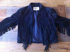 1980s Wilson Black Suede Fringe Jacket  Vintage by WyldStyle, $40.00