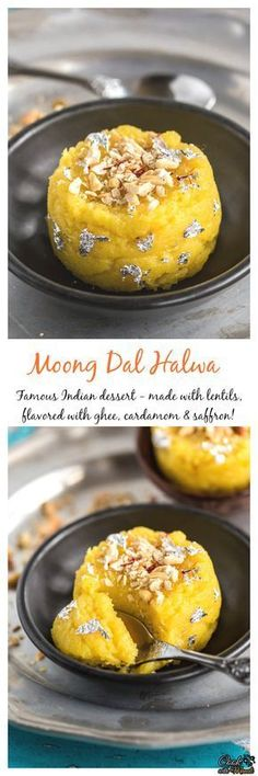 Delicious Moong Dal Halwa is a famous Indian dessert. It's rich, aromatic and flavored with saffron and cardamom. A special dessert for special occasion! #dessert #indian Find the recipe on www.cookwithmanali.com