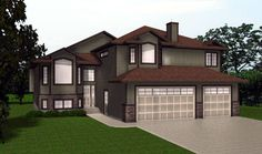 HOUSE PLAN 2010518 - BILEVEL HOME PLAN by Edesignsplans.ca. Triple car garage with master bedroom above. 2-sided fireplace in master suite. Flex room off front foyer and open space kitchen, dining and great room with vault. Bright walkout basement.