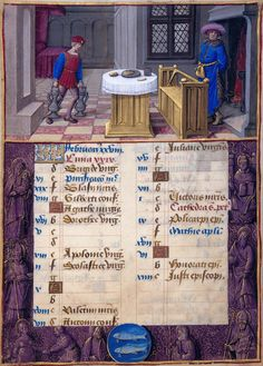 February: Keeping Warm | Pisces | Hours of Henry VIII | Illuminated by Jean Poyer | ca. 1500 | The Morgan Library & Museum