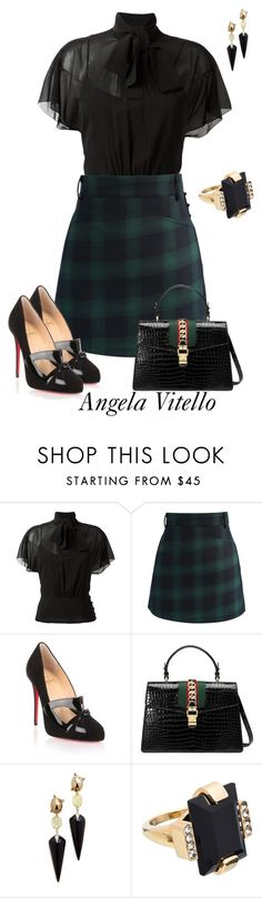 """""""Untitled #923"""" by angela-vitello on Polyvore featuring RED Valentino, Chicwish, Christian Louboutin, Gucci, Alexis Bittar and Marni"""