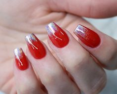 red nails with holo chrome ombre