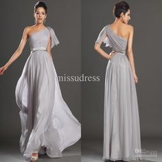Wholesale Gray One Shoulder Long Chiffon Bridesmaid Dress Formal Evening Gowns, Free shipping, $89.6-112.0/Piece | DHgate