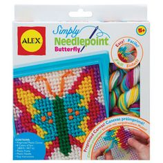 Simply Needlepoint - Butterfly : Needle-pointing is a great activity. Once you have learnt this skill, you've got a lifelong hobby. Start with a preprinted plastic canvas, a plastic frame, plastic needle and lots of bright wool. Frame it when you're done! This wonderful craft activity promotes fine motor, perceptual and concentration skills.