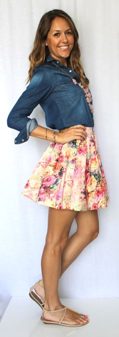 Chambray shirt with floral skirt - J's Everyday Fashion Blog