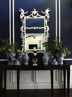 My foyer- blue and white