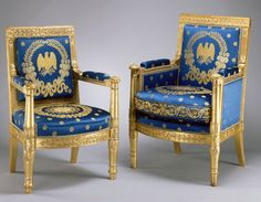 These gilded beechwood armchairs were made in 1817 in Paris by Pierre-Antoine Bellangé. They are from a suite ordered for the Blue Room by President James Monroe in 1817. Photo by Bruce White for the White House Historical Association.