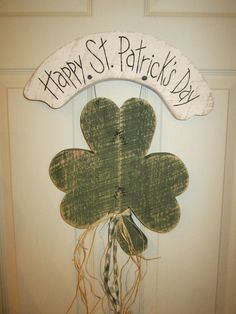 Country Primitive Wood Hanging St. Patrick's Day by LnMPrimitives, $20.00