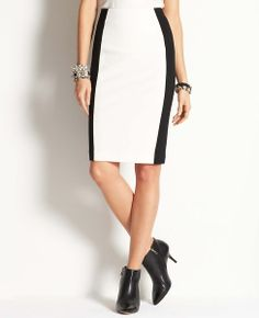 Zip Back Colorblock Skirt | Ann Taylor