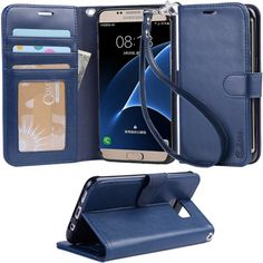 Galaxy s7 edge Case, Arae Flip Folio PU leather wallet case #Galaxy #s7 #edge…