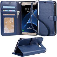 Galaxy s7 edge Case, Arae Flip Folio PU leather wallet case #Galaxy #s7 #edge…