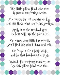 Rice Bag Warmers Poem for Rice Bag Warmer Fabric Crafts, Sewing Crafts, Sewing Projects, Fleece Projects, Art Projects, Craft Gifts, Diy Gifts, Diy Rice Bags, Rice Heating Pads