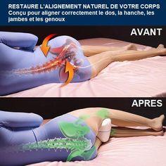Le meilleur coussin orthopédique pour jambes et genoux ! Le Coussin d'Alignement pour Jambes est le premier coussin orthopédique avec mousse à mémoire de forme. Il offre un confort optimal aux personnes qui dorment sur le côté pour aligner correctement la colonne vertébrale, stabiliser la hanche et soutenir les genoux pendant le sommeil. Il permet de soulager la douleur au dos, à la hanche, aux jambes et aux genoux.   Parfaitement recommandé pour les hommes comme pour les femmes ! FONCTIONNALITE Knee Pillow, Spine Health, Low Back Pain, Lower Back Pain Relief, Knee Pain, Hip Pain, Feel Tired, Massage Therapy, Memory Foam