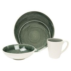 Baum Bros. Fused 16 Piece Dinnerware Set - Grey