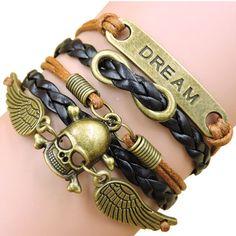 Vintage Harry Potter Owl Skeleton Wings Believe Heart Infinity Love bracelet,Leather Multilayer Braid Charm Bracelets & bangles