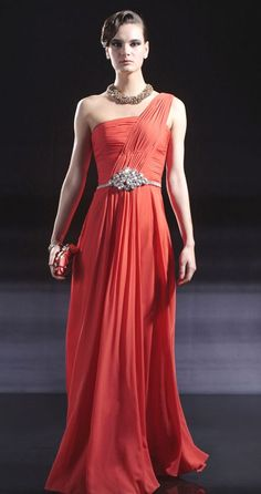 one shoulder ruffled chiffon beading evening dress