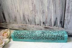 Shabby Chic Teal Storage Box Aqua Ornate Wood by WillowsEndCottage