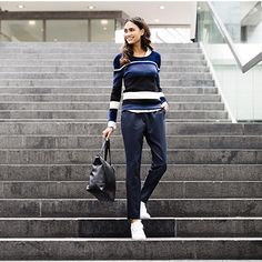 Sporty and comfy, stylish and casual, this look is all in one, and is perfect for a day at work. Occasion Wear, All In One, Knitwear, Latest Trends, Autumn Fashion, Normcore, Sporty, Comfy, Stylish