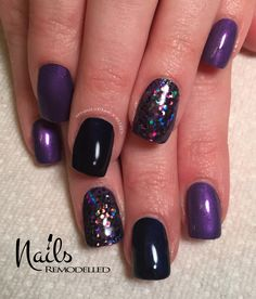 Black, purple and dark glitter accent nail art