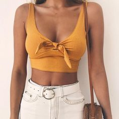 Ribbed Bow Tie Camisole Tank Tops Women Summer Basic Crop Top Streetwear Cool Cropped Tees Camis Color black Size S Streetwear Fashion 2018, Top Streetwear, Streetwear Summer, Streetwear Clothing, Trendy Outfits, Summer Outfits, Fashion Outfits, Fashion Clothes, Women's Fashion