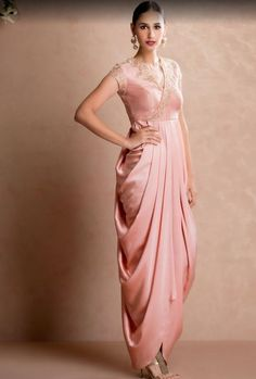 Popular Dresses To Wear To A Wedding, Popular Dresses To Wear To A Wedding Latest Popular Indian Wedding Dress Outfits Women Dhoti Style Gown Pink popular dresses to wear to a wedding Style indian Dresses To Wear To A Wedding, Indian Wedding Outfits, Indian Outfits, Indian Designer Outfits, Designer Dresses, Saree Dress, Dhoti Saree, Drape Sarees, Lehenga