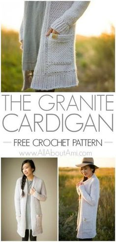 """Free crochet pattern for the granite cardigan! Includes a video tutorial on how to learn the granite stitch. This sweater was made in Lion Brand """"Whisper."""""""