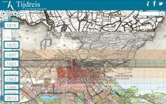 Op de website Topotijdreis.nl kan je een topografisch tijdreis maken door Nederland. Zoom in op op een stad of streek en zie de kaarten van de afgelopen 2 eeuwen. Mooie werk van het Kadaster.