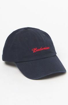 new style ef688 cce6c x Budweiser Navy   Red Strapback Dad Hat
